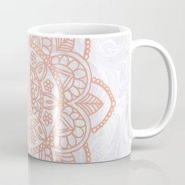 Rose Gold Mandala on White Marble Coffee Mug