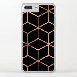 Black and Gold - Geometric Cube Design Clear iPhone Case