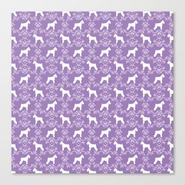 Schnauzer floral silhouette pattern schnauzers minimal lilac purple dog Canvas Print