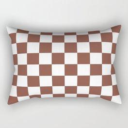 Checkered (Brown & White Pattern) Rectangular Pillow