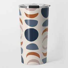 Moon Phases Pattern in blue, terracotta, pink Travel Mug