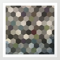 hexagon Art Prints featuring Hexagon  by Kitty Emsley