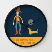 dachshund Wall Clocks featuring Dachshund by Ariel Wilson