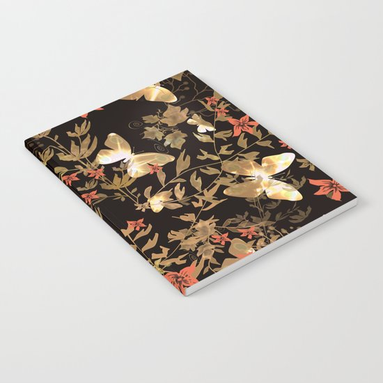 Golden butterfly in the night. Notebook