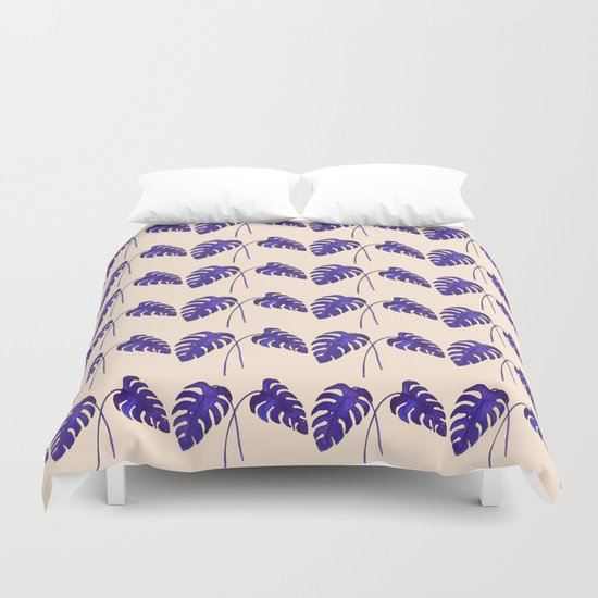 Indigo Monstera Leaf Watercolor on Blush Duvet Cover