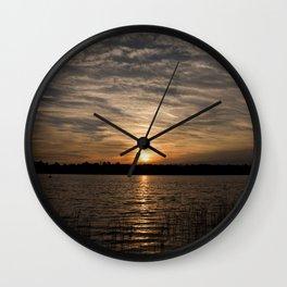 Watercolor Sunset, Janes Island 14, Maryland Wall Clock