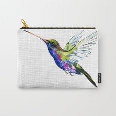 Flying Hummingbird, Blue green wall art minimalist bird Carry-All Pouch