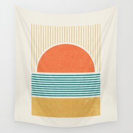 Sun Beach Stripes - Mid Century Modern Abstract Wall Tapestry