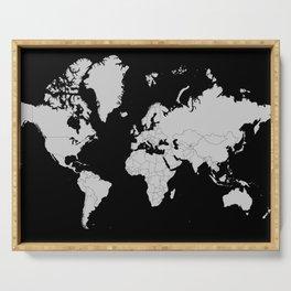 Minimalist World Map Gray on Black Background Serving Tray