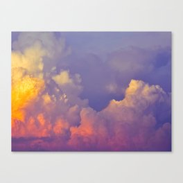 Purple Pastel Clouds Fluffy Cotton Candy Whimsical Fairytale Sky Canvas Print