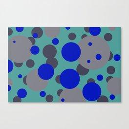 bubbles blue grey turquoise design Canvas Print
