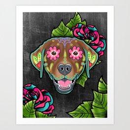 Labrador Retriever - Chocolate Lab - Day of the Dead Sugar Skull Dog Art Print