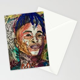 X,rapper,rip,hiphop,music icon,lyrics,colourful poster,dope,wall art,cool,shirt Stationery Cards