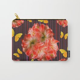 Decorative yellow Butterflies Pink Flowers Puce Carry-All Pouch