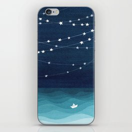 Garlands of stars, watercolor teal ocean iPhone Skin