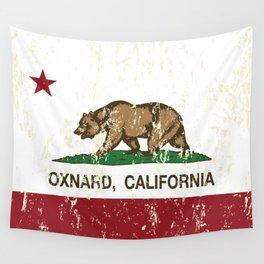 Oxnard California Republic Flag Distressed Wall Tapestry