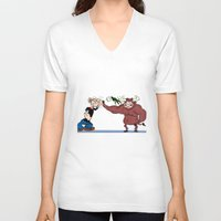 """popeye V-neck T-shirts featuring """"Popeye""""'s taking out his nerves by Dano77"""