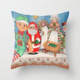 Christmas Dolls Throw Pillow