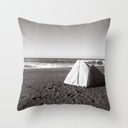 Oceanside Camp Site Throw Pillow