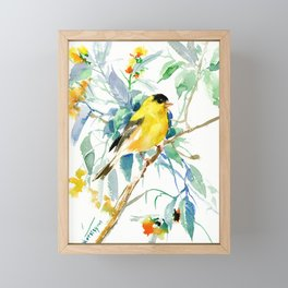 American Goldfinch, yellow sage green birds and flowers Framed Mini Art Print