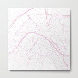 Paris France Minimal Street Map - Pretty Pink and White Metal Print