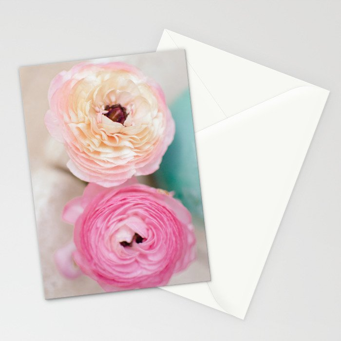 ranunculus pink flowers Stationery Cards