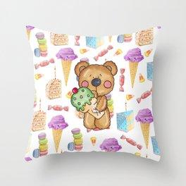 Birthday Boy Bear Cake and Ice Cream Yummy Throw Pillow