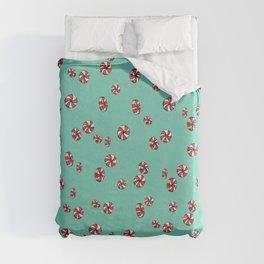Peppermint Candy in Aqua Duvet Cover