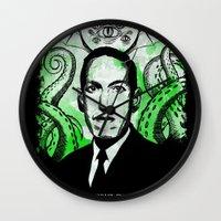 lovecraft Wall Clocks featuring Mr. Lovecraft by Robert Hoops