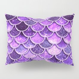 Pantone Ultra Violet Glitter Ombre Mermaid Scales Pattern Pillow Sham