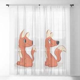 Cute Fox illustration Sheer Curtain
