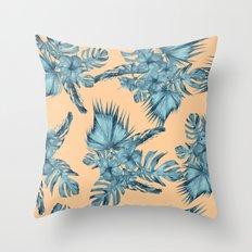 Island Love Hibiscus Palm Orange Teal Blue Throw Pillow