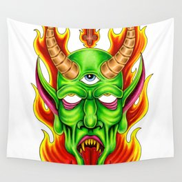 Third Eye Fire Demon Wall Tapestry