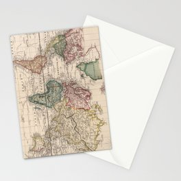 Vintage Map of The World (1833) Stationery Cards