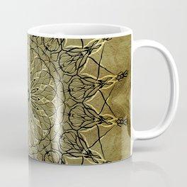 Black & Golden-Yellow Metallic Mandala on Faux Gold Foil Background (part of set) Coffee Mug