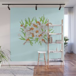 goldfishes blue Wall Mural