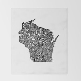 Typographic Wisconsin Throw Blanket
