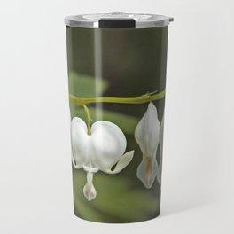 White Bleeding Hearts with Green Travel Mug