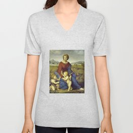 Madonna of the Meadows by Raphael Unisex V-Neck