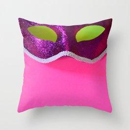 Mask: Pink + Purple + Green Throw Pillow