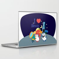 coraline Laptop & iPad Skins featuring Ernest and Coraline | I love Illinois by Hisame Artwork