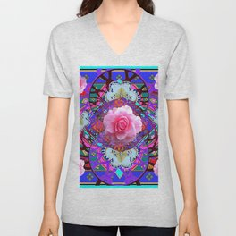 PINK ROSES WHITE BUTTERFLIES  PURPLE NATURE  ART Unisex V-Neck