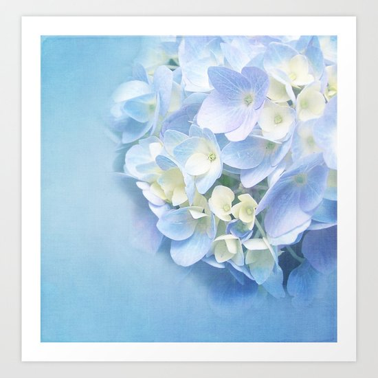 BLUE HYDRANGEA LOVE Art Print