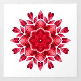 Floral Mandala | Abstract Watercolor Red Petal Flower Art Print
