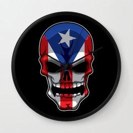 Puerto Rican Skull - Puerto Rico Pride Flag Wall Clock