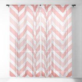 Geometrical mauve coral white modern chevron pattern Sheer Curtain