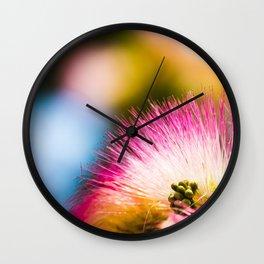 Exotic summer pink silk tree mimosa Wall Clock