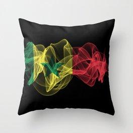 Senegal Smoke Flag on Black Background, Senegal flag Throw Pillow