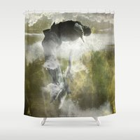 arya Shower Curtains featuring Man floating by ARTiSTiC TENDENCiES
