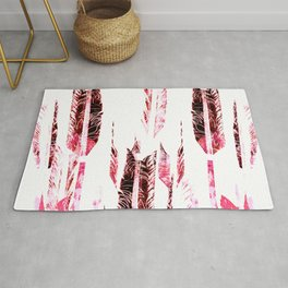 Red Black and White Tribal Boho Feathers Rug